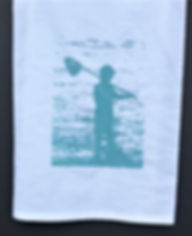 BOY ON THE BEACH TEA TOWEL  BLUE