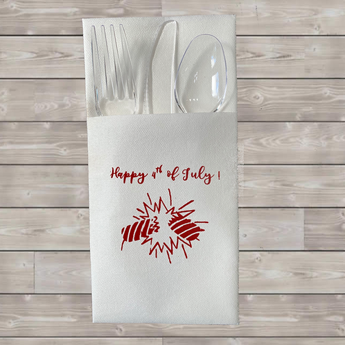 HAPPY 4th OF JULY  DISPOSABLE CUTLERY POUCHES  Pack of 12