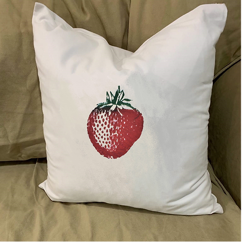 STRAWBERRY PILLOW WITH FEATHER INSERT