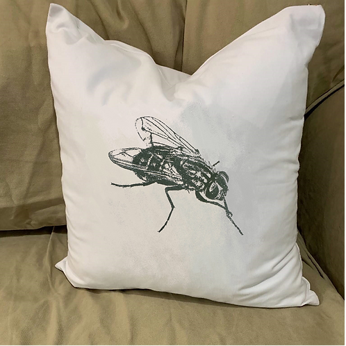 HOUSEFLY PILLOW WITH FEATHER INSERT