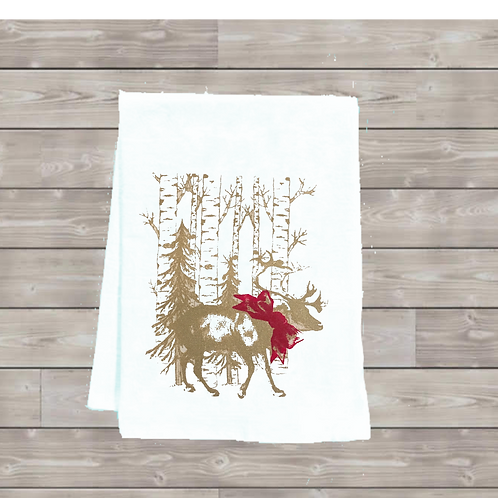 REINDEER IN THE WOODS WITH BOW TEA TOWEL