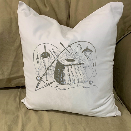 FISHING CREEL PILLOW WITH FEATHER INSERT