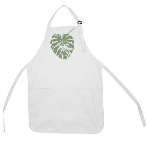 MONSTERA LEAF APRON ( SWISS CHEEESE PLANT LEAF )