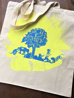 FOREST FRIENDS TOTE BLUE AND YELLOW