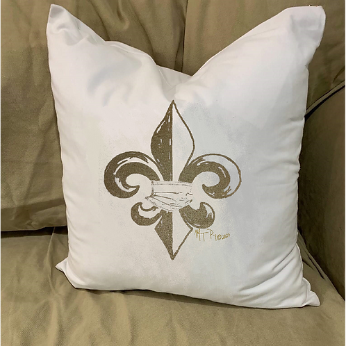 FLEUR DE LIS WITH MASK PILLOW WITH FEATHER INSERT