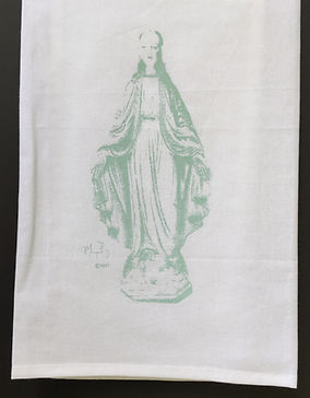 BLESSED MOTHER TEA TOWEL ROBIN'S EGG BLUE