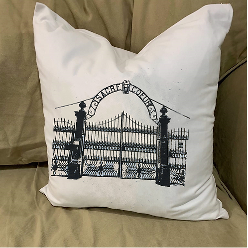 SACRED HEART GATE SACRE COEUR PILLOW WITH FEATHER INSERT