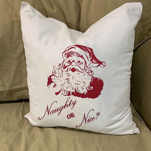 NAUGHTY OR NICE?   SANTA PILLOW WITH FEATHER INSERT