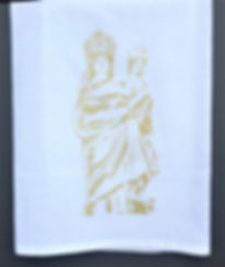 OUR LADY OF PROMPT SUCCOR TEA TOWEL GOLD