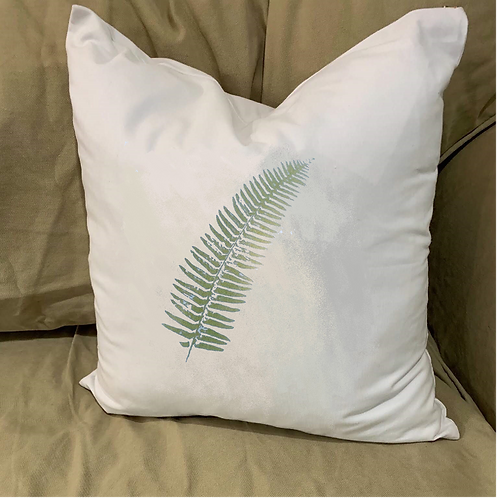 FERN FROND PILLOW WITH FEATHER INSERT
