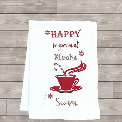 HAPPY PEPPERMINT MOCHA SEASON TEA TOWEL