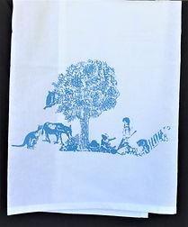 FOREST FRIENDS TEA TOWEL    BURP CLOTH BLUE