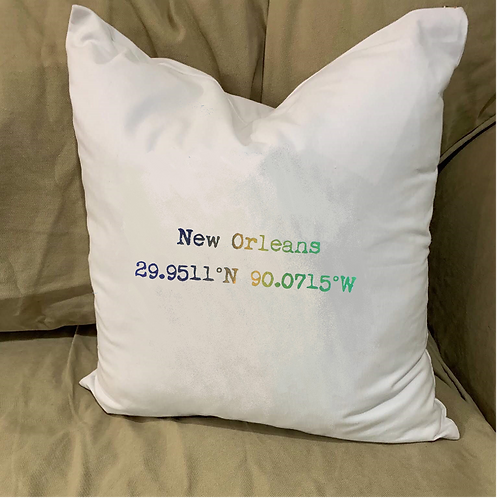 NEW ORLEANS COORDINATES PILLOW WITH FEATHER INSERT