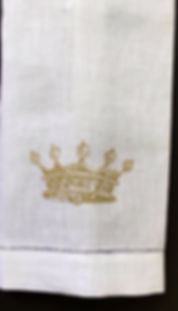 LINEN HEM STITCHED HAND TOWEL CROWN HAND PRINTED