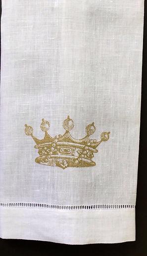 LINEN HEM STITCHED HAND TOWEL CROWN HAND PRINTED