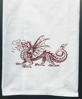 DRAGON TEA TOWEL RED