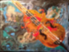 Violin Acrylic Painting Poured Paint by Monique Perry