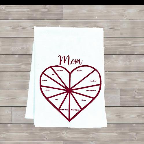Mom Pie Chart Tea Towel
