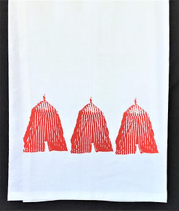 THREE CABANAS TEA TOWEL RED