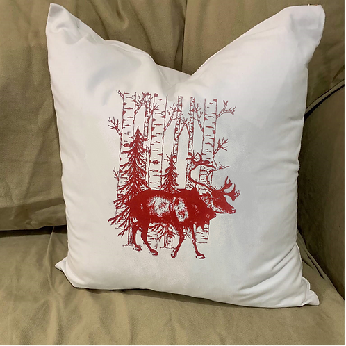 REINDEER IN THE WOODS PILLOW WITH FEATHER INSERT