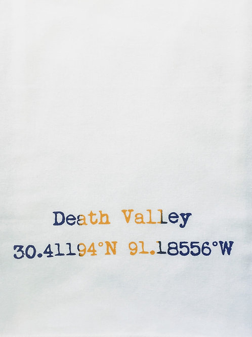 DEATH VALLEY COORDINATES TEA TOWEL, APRON, TOTE, T-SHIRT, PILLOW