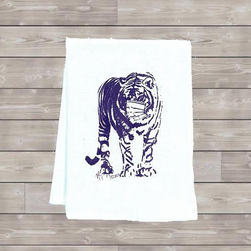TIGER WITH MASK TEA TOWEL