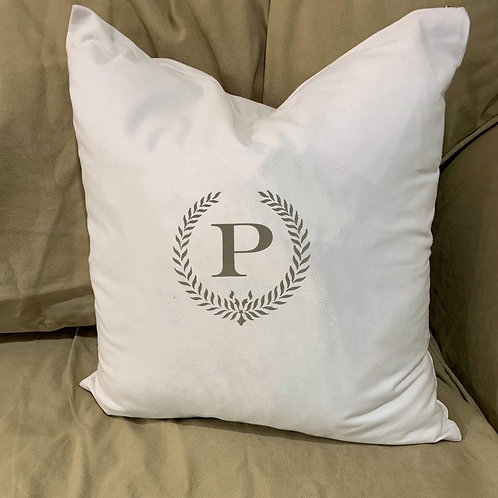 MONOGRAM PILLOW WITH FEATHER INSERT