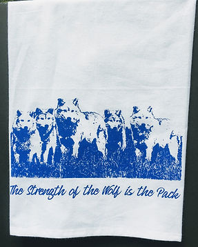 THE STRENGTH OF THE WOLF IS THE PACK TEA TOWEL BLUE