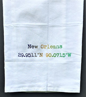 NEW ORLEANS COORDINATES TEA TOWEL PURPLE, GREEN & GOLD