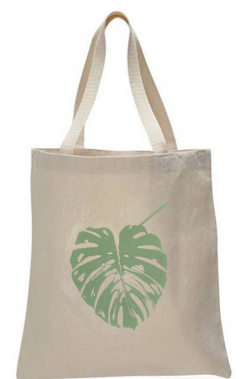 MONSTERA LEAF TOTE BAG ( SWISS CHEESE PLANT LEAF )