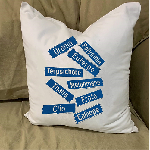 MUSES STREET SIGNS PILLOW WITH FEATHER INSERT