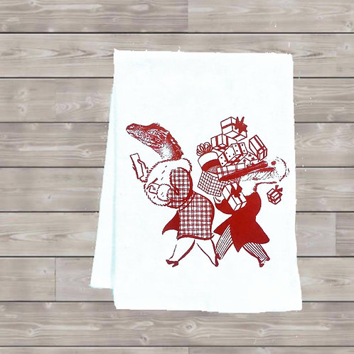 ALLIGATOR AND PELICAN GO SHOPPING TEA TOWEL