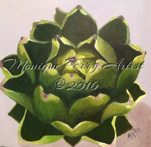 Artichoke Acrylic Painting by Monique Perry