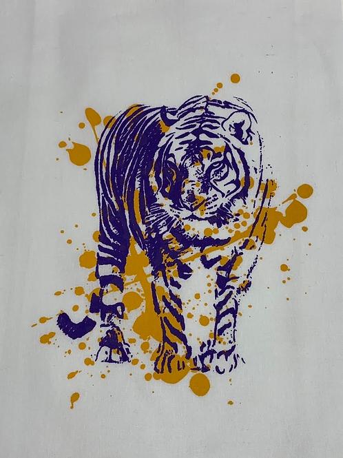 TIGER WITH SPLATTER TEA TOWEL