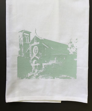 OUR LADY OF THE LAKE CHURCH TEA TOWEL ROBIN'S EGG BLUE