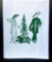 PELICAN AND ALLIGATOR HAVE CHRISTMAS  TEA TOWEL GREEN