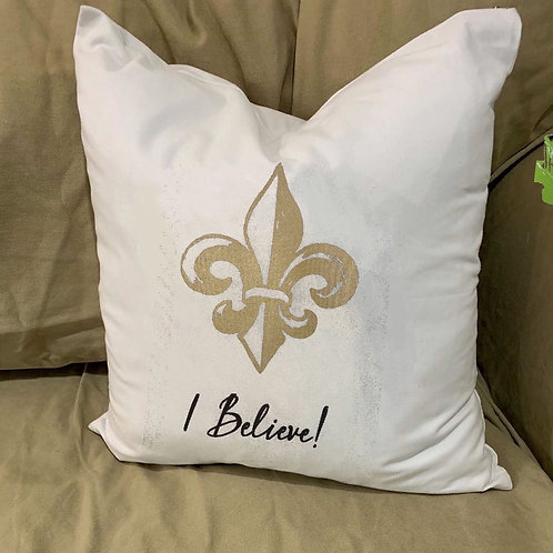 I BELIEVE FLEUR DE LIS PILLOW WITH FEATHER INSERT