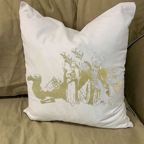 WISEMEN THREE KINGS WITH CAMELS PILLOW WITH FEATHER INSERT