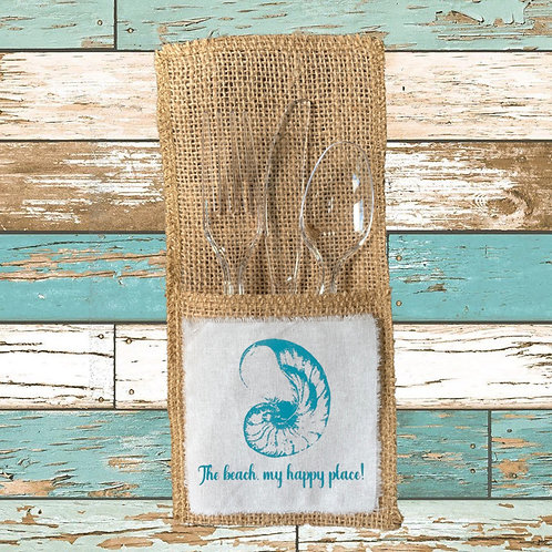THE BEACH, MY HAPPY PLACE CUTLERY POUCHES  Pack of 8