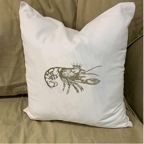 CRAWFISH WITH CROWN PILLOW WITH FEATHER INSERT