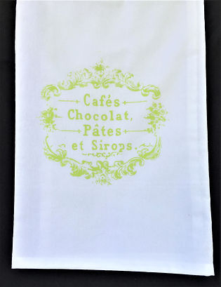 PARISIAN CAFE'S TEA TOWEL LIME