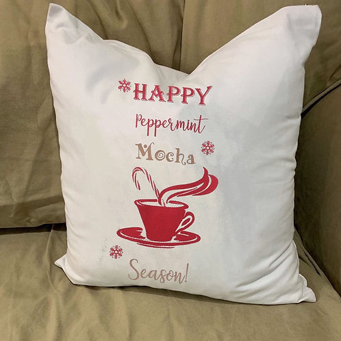 HAPPY PEPPERMINT MOCHA SEASON PILLOW WITH FEATHER INSERT