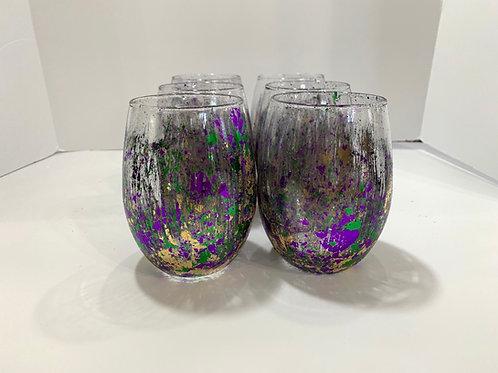 HAND-LEAFED STEMLESS WINE GLASSES (Set of 6)