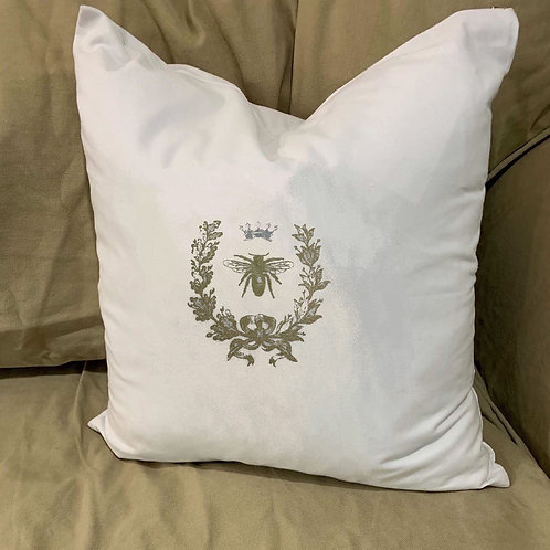 NAPOLEONIC BEE WITH CROWN PILLOW WITH FEATHER INSERT