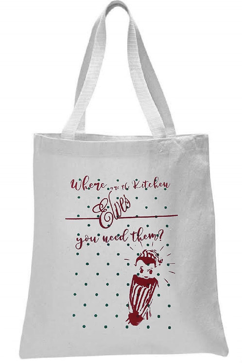 WHERE ARE THE KITCHEN ELVES TOTE BAG