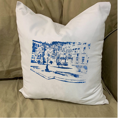 URSULINE ACADEMY COURTYARD PILLOW WITH FEATHER INSERT