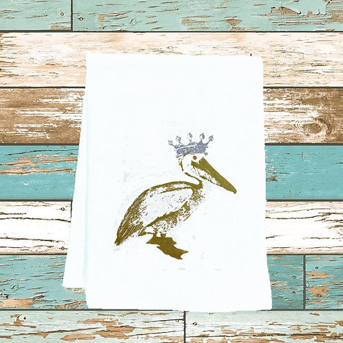 PELICAN WITH CROWN TEA TOWEL