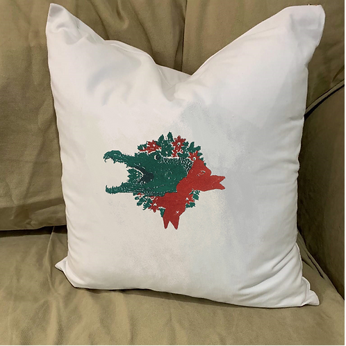 ALLIGATOR WITH WREATH PILLOW WITH FEATHER INSERT