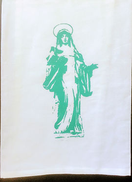 OUR LADY OF GUADALUPE TEA TOWEL TURQUOISE