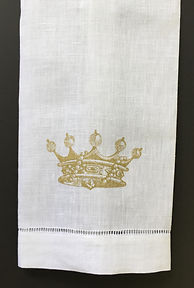CROWN ON LINENHAND TOWEL GOLD